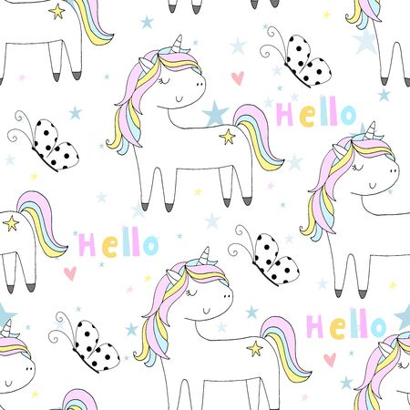 Hand drawn seamless vector pattern with cute unicorns, stars . Repetitive wallpaper on white background. Illustration