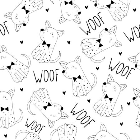 Cute hand drawn dogs seamless pattern background Illustration