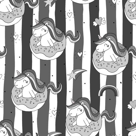 Seamless pattern with unicorn and donuts. Wrapping paper or fabric. Texture for menu, booklet, banner, website. Vector illustration. Cute summer print