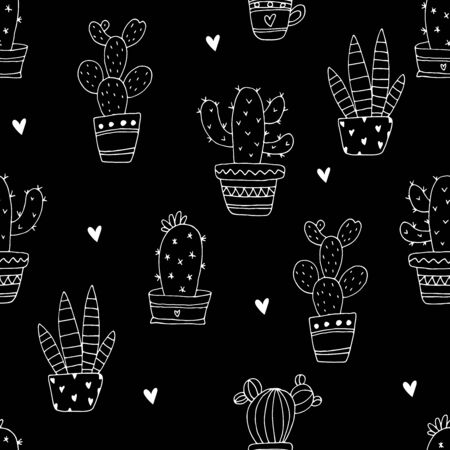 hand drawn Sample pattern with cactus vector illustration Иллюстрация