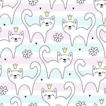 Hand drawn seamless vector pattern with cute cats in a crown. Vector background print.