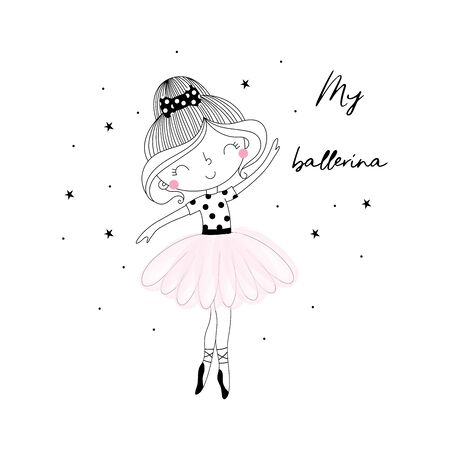 Cute hand drawn with cute little ballerina vector illustration