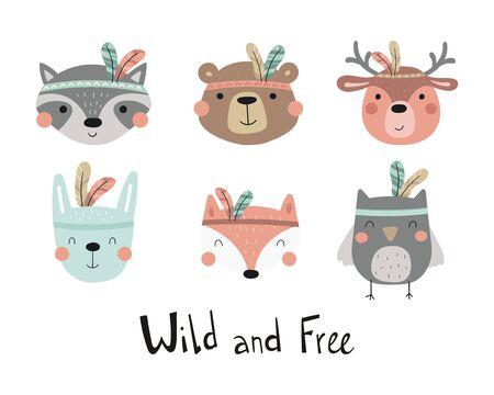 Hand drawn cute print with owl, bear, deer, rabbit, fox, raccoon. Print for Baby. Cute animal in Boho style