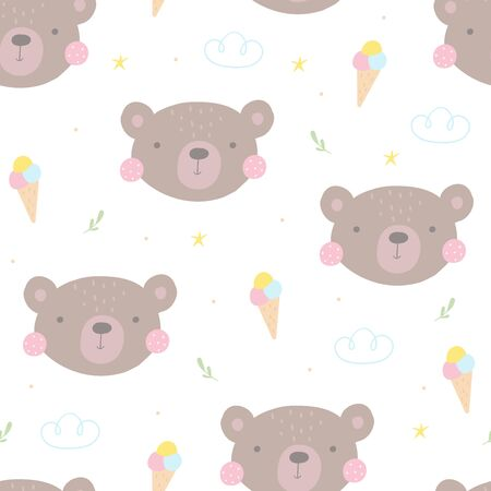 Seamless pattern with cute little bear. vector illustration. Vector print with bear.