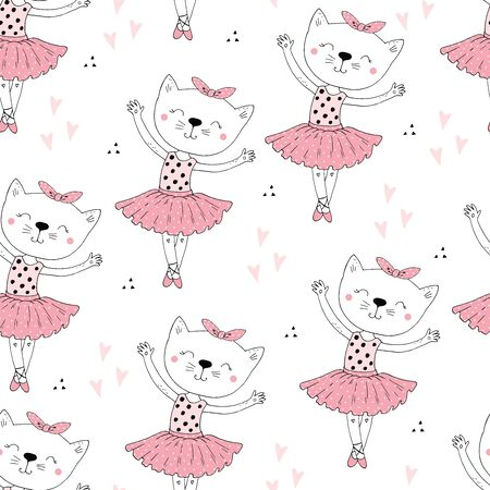 hand drawn Sample pattern with Cat, ballerina illustration, children print on t-shirt