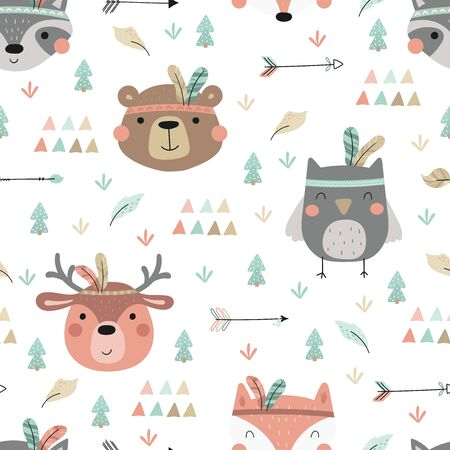Cute print Boho style. Seamless pattern with cute little animals. vector illustration. Vector print with animals