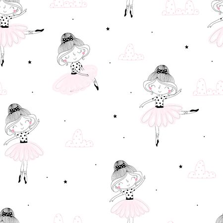 Cute hand drawn with cute little girl ballerina vector seamless pattern illustration.  イラスト・ベクター素材