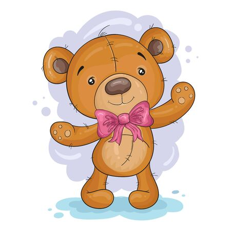 Cute Cartoon Teddy Bear. vector print. Good for greeting cards, invitations, decoration, Print for Baby Shower, etc.  イラスト・ベクター素材