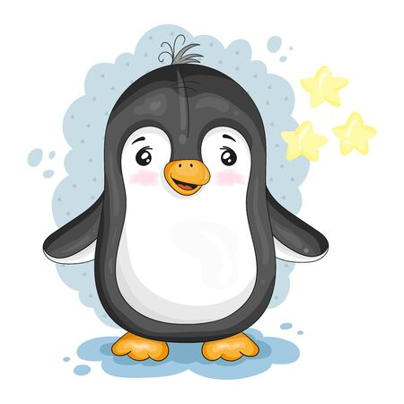 Cute Cartoon penguin. vector print. Good for greeting cards, invitations, decoration, Print for Baby Shower, etc