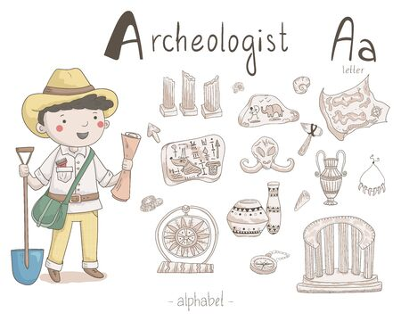 Vector character - archaeologist with different archaeological icons around isolated on light background. Cute vector alphabet. Letter A - archaeologist Vectores