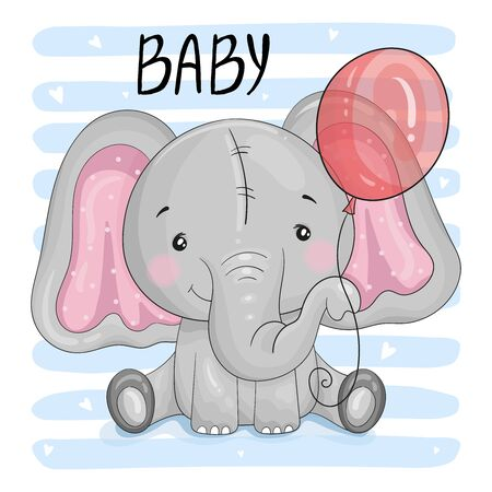 Greeting card cute cartoon Elephant with Balloon. Good for greeting cards, invitations, decoration, Print for Baby Shower, etc Hand drawn vector illustration with Elephant cute print  イラスト・ベクター素材
