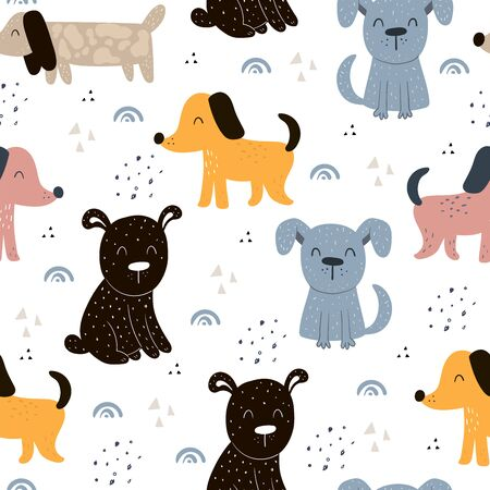 Childish seamless pattern with hand drawn dogs. Trendy scandinavian vector background. Perfect for kids apparel,fabric, textile, nursery decoration,wrapping paper