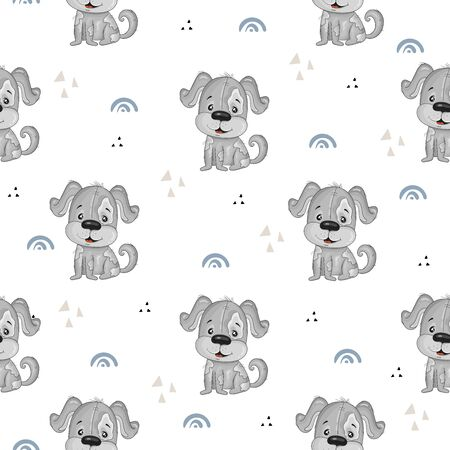 Cute seamless pattern with funny dog. Cute Cartoon dog. Hand drawn vector illustration with dog cute print