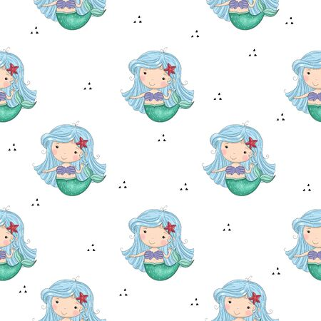 Seamless pattern with Hand drawn vector little mermaid. Cute hand drawn with cute little mermaid vector seamless pattern illustration. Cute Cartoon mermaid