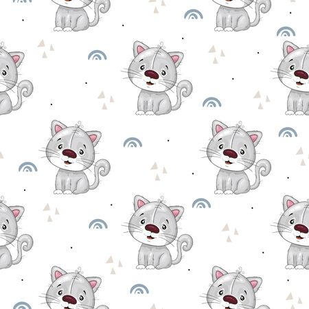 Seamless pattern with cute little cat. vector illustration. Hand drawn vector illustration with cat cute print  イラスト・ベクター素材
