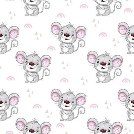 Cute seamless pattern with funny mouse. Cute Cartoon mouse. Hand drawn vector illustration with mouse cute print