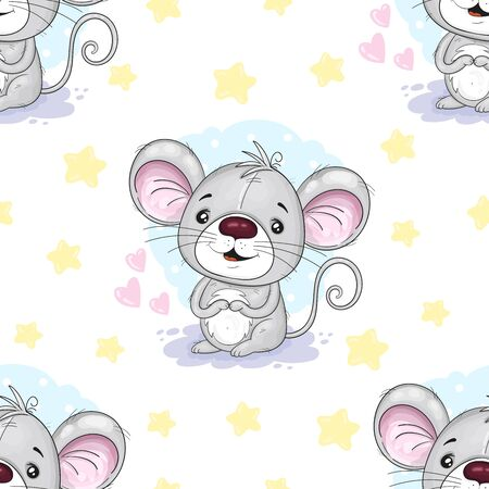 Cute seamless pattern with funny mouse. Cute Cartoon mouse. vector print