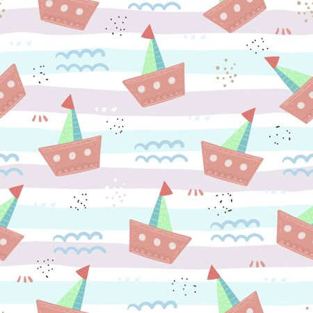 Seamless vector pattern with hand drawn sailing yachts . Summer bright background for fabric design  イラスト・ベクター素材