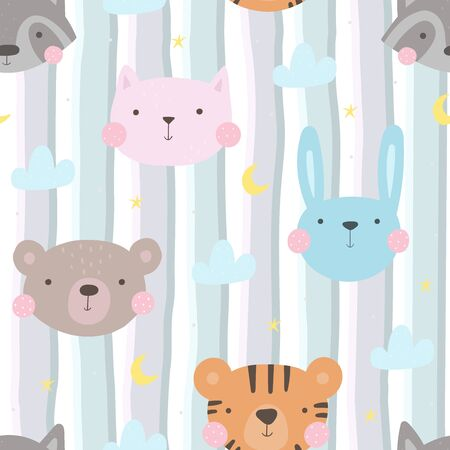 Seamless pattern with cute little bunny. vector illustration. Vector print with rabbit.  イラスト・ベクター素材