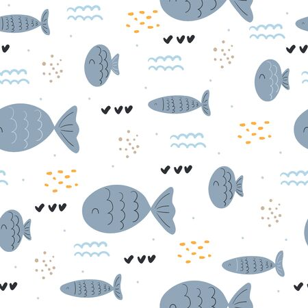 Seamless pattern with cute fish. vector pattern.