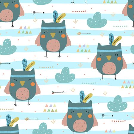 Cute print Boho style. Seamless pattern with cute little owl. vector illustration. Vector print with owl.