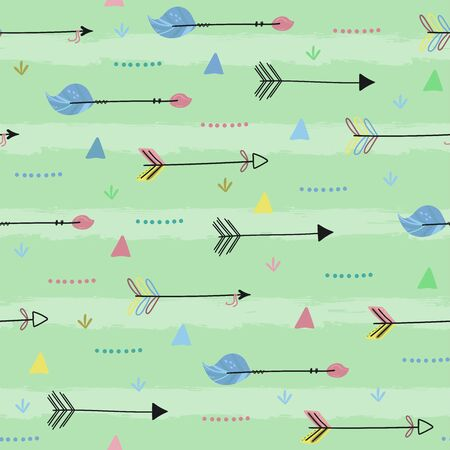 Cute print Boho style. Seamless pattern with cute arrow. vector illustration. Vector print with arrow.