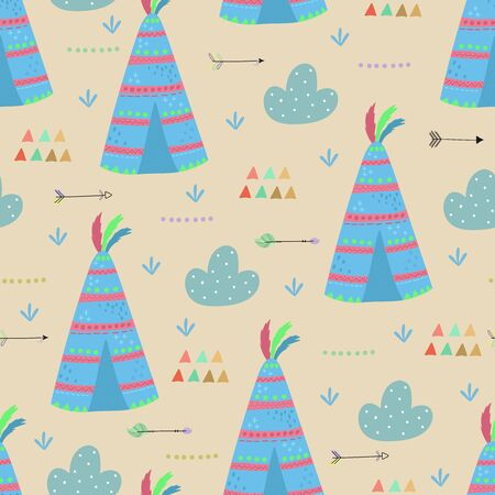 Cute print Boho style. Seamless pattern with cute wigwam. vector illustration. Vector print with wigwam.