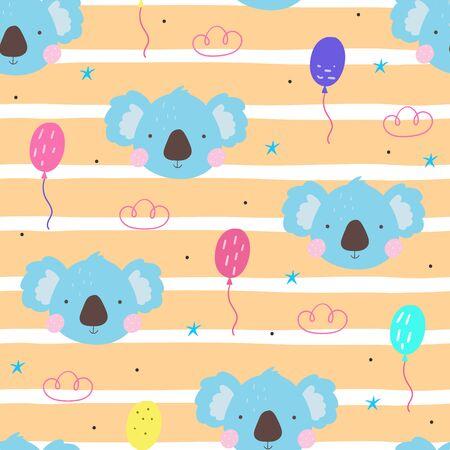 Seamless pattern with cute little koala. vector illustration. Vector print with koala.  イラスト・ベクター素材