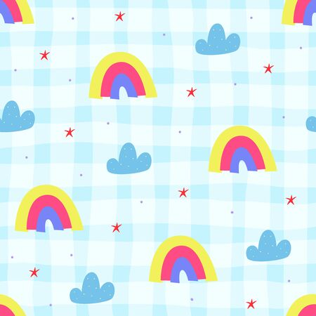 Seamless childish pattern with trendy rainbows.Creative scandinavian kids texture for fabric, wrapping, textile, wallpaper, apparel. Vector illustration  イラスト・ベクター素材