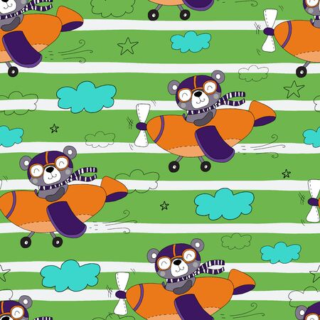 hand drawn Sample pattern with cute plane and bear vector illustration  イラスト・ベクター素材