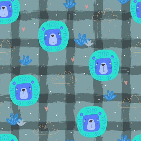Hand drawn seamless pattern with cute little lion cartoon style. Vector pattern. doodle illustration for kids vector print.  イラスト・ベクター素材