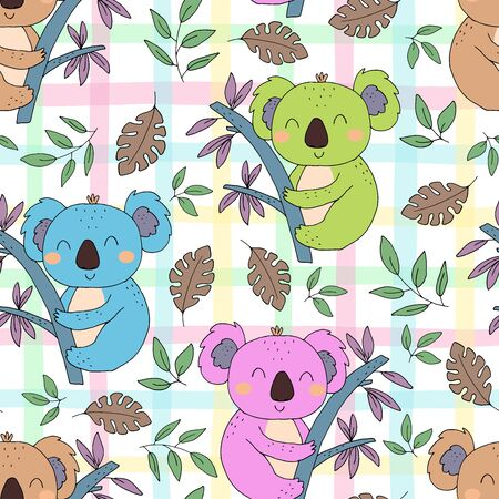 Seamless pattern. Cute character - sleeping animal baby Koala bear. Vector print for baby shower