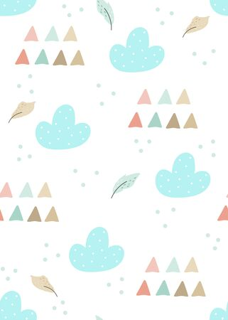 Cute print Boho style. Seamless pattern with cute abstract. vector illustration