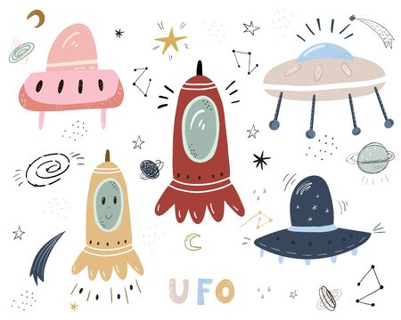 Vector set of hand drawn space objects. Flying saucers of aliens, spaceship, rocket, astronaut, cosmic satellite, stars and different planets. Sketch style icons