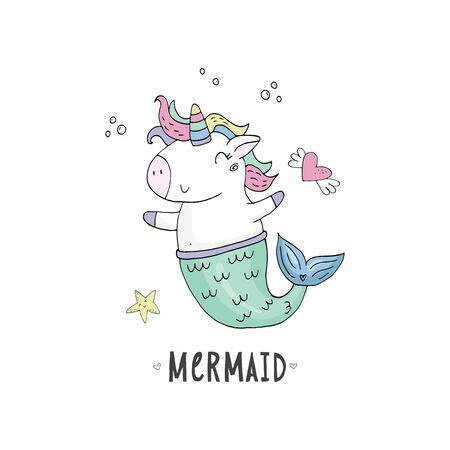 Cute fairy unicorn with mermaid tail and a rainbow mane. Magic funny mermaid. Vector doodle illustration.