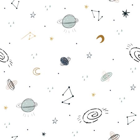 Childish seamless pattern with aliens, ufo in cosmos. Perfect for kids apparel,fabric, textile, nursery decoration,wrapping paper