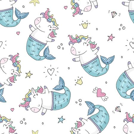 Cute fairy unicorn with mermaid tail and a rainbow mane. Magic funny mermaid. Vector doodle illustration. Seamless vector pattern  イラスト・ベクター素材