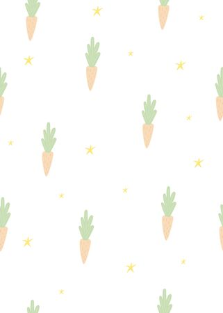 Seamless childish pattern with carrot. Creative scandinavian kids texture for fabric, wrapping, textile, wallpaper, apparel. Vector illustration.
