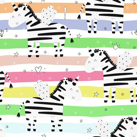 Hand drawn seamless vector pattern with cute zebra. Repetitive wallpaper. Perfect for kids apparel,fabric, textile, nursery decoration,wrapping paper