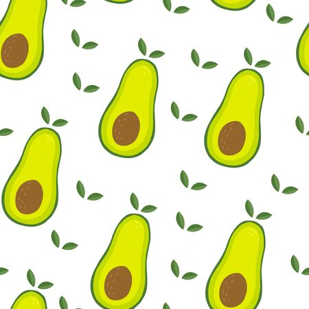Cute hand drawn with cartoon avocado. Funny cartoon avocado healthy food. Fresh print. Seamless pattern