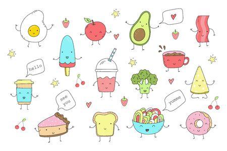 Cute hand drawn set with Funny Cartoon food. Vector kawaii food
