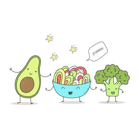 Cute hand drawn set with Funny Cartoon food. Vector kawaii food. avocado, broccoli  イラスト・ベクター素材