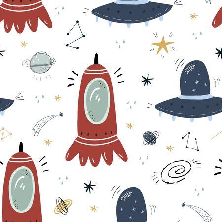 Modèle sans couture enfantin avec des extraterrestres, ovni dans le cosmos. Parfait pour les vêtements pour enfants, le tissu, le textile, la décoration de chambre d'enfant, le papier d'emballage