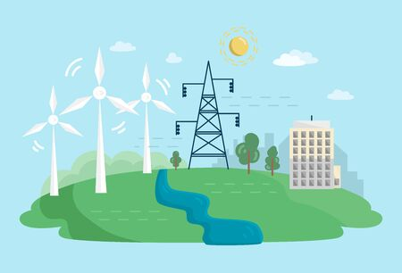 Alternative Clean Energy Concept with Wind Turbines. Renewable Power Sources with Windmills. Vector flat illustration.  イラスト・ベクター素材