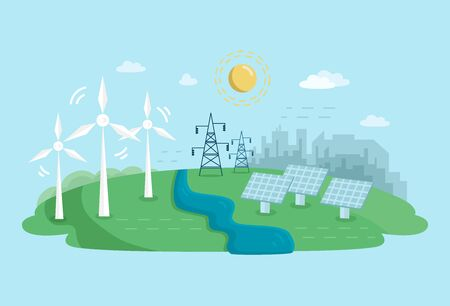 Alternative Clean Energy Concept with Wind Turbines and Solar Panels. Renewable Power Sources with Windmills. Vector flat illustration.