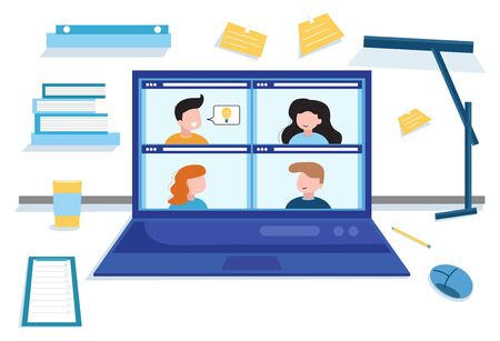 Concept social networking, web, online meetings. Video conference illustration. Workplace, laptop screen, group of people talking by internet. Stream, web chatting, online meeting friends.