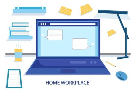 Home workplace flat vector design. Workspace for freelancer and home work. Workplace, laptop screen, group of people talking by internet.  イラスト・ベクター素材