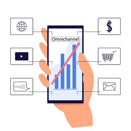 The concept of Omnichannel between devices to improve the performance of the company. Innovative solutions in business. vector illustration. hand with mobile phone on white background