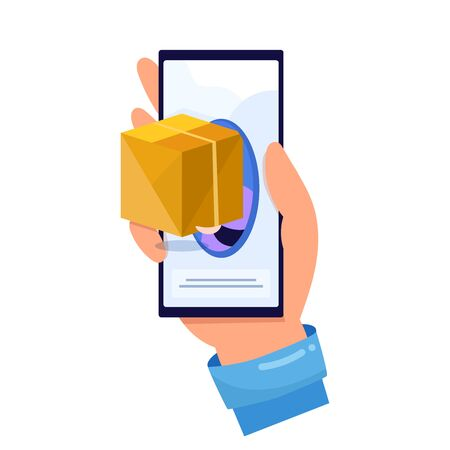 The concept of online shopping and delivery online. Flat vector illustration of express delivery service, courier service, goods shipping, food online ordering. Free delivery, online buy