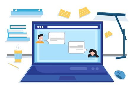 Concept social networking, web, online meetings. Home workplace flat vector design. Workspace for freelancer and home work. Coronavirus, quarantine isolation. Vector flat illustration